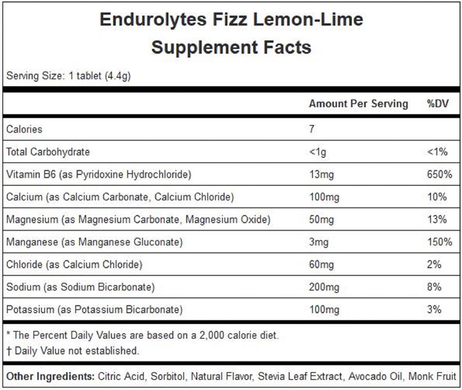 Hammer Endurolytes Fizz: Lemon Lime Box of 12 - Sport Hydration - Endurolytes Fizz
