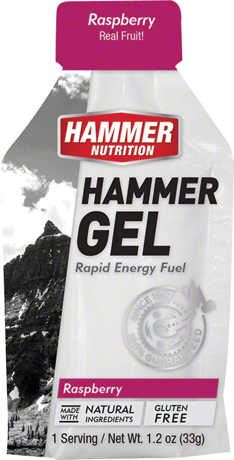 Hammer Gel: Raspberry, 24 Single Serving Packets