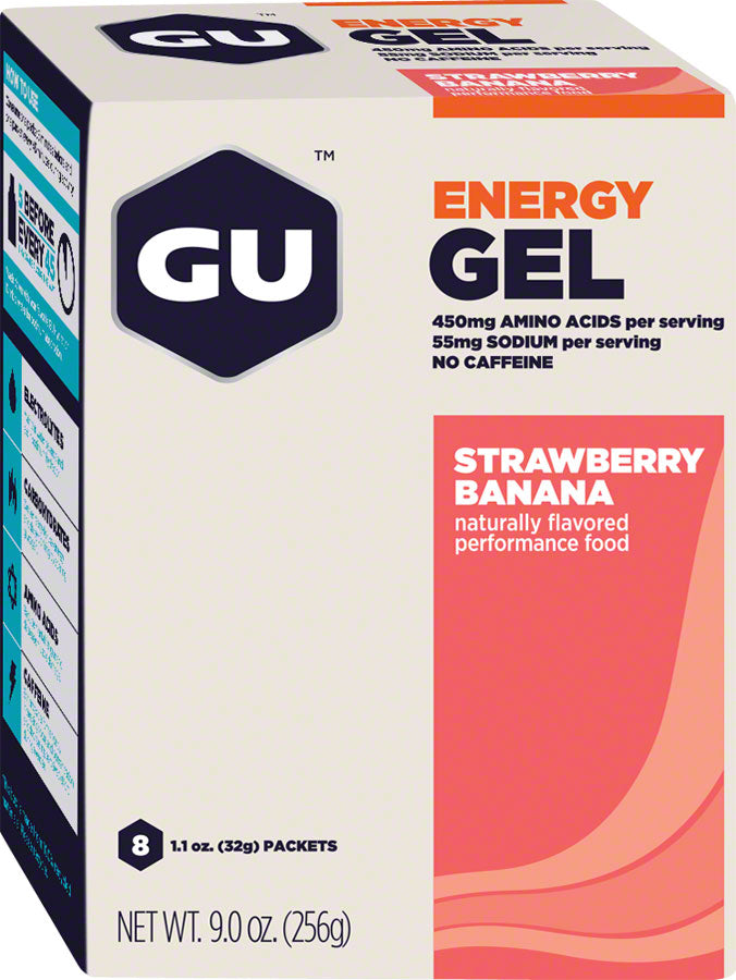 GU Energy Gel: Strawberry/Banana, Box of 8 MPN: 123036 UPC: 769493900081 Gel Energy Gel