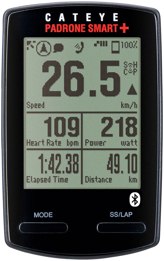 CatEye Padrone Smart+ Speed/Cadence Bundle Bike Computer - Wireless, Black
