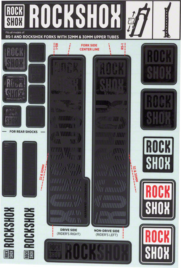 RockShox Decal Kit, 30/32mm, Stealth Black