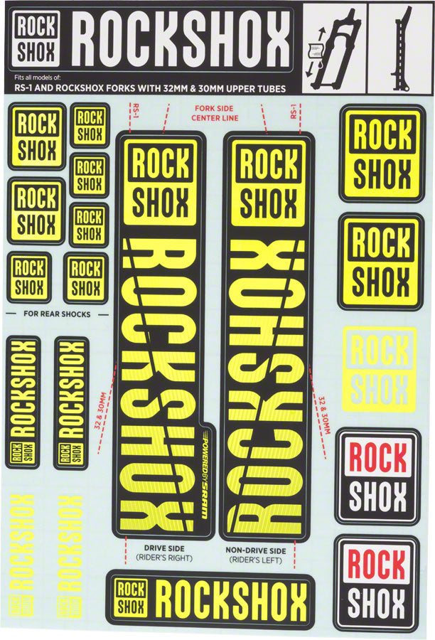 RockShox Decal Kit, 30/32mm, Yellow MPN: 11.4318.003.498 UPC: 710845803765 Other Fork Part Decal Kit