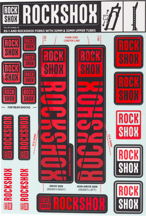 RockShox Decal Kit, 30/32mm, Red MPN: 11.4318.003.500 UPC: 710845803789 Sticker/Decal Decal Kit