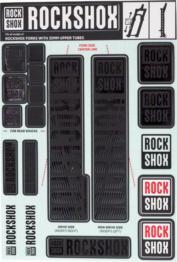 RockShox Decal Kit, 35mm, Stealth Black
