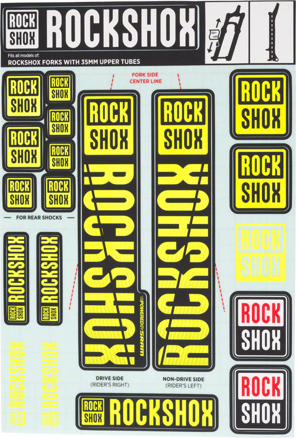 RockShox Decal Kit, 35mm, Yellow