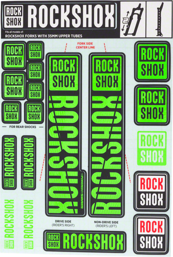 RockShox Decal Kit, 35mm, Green
