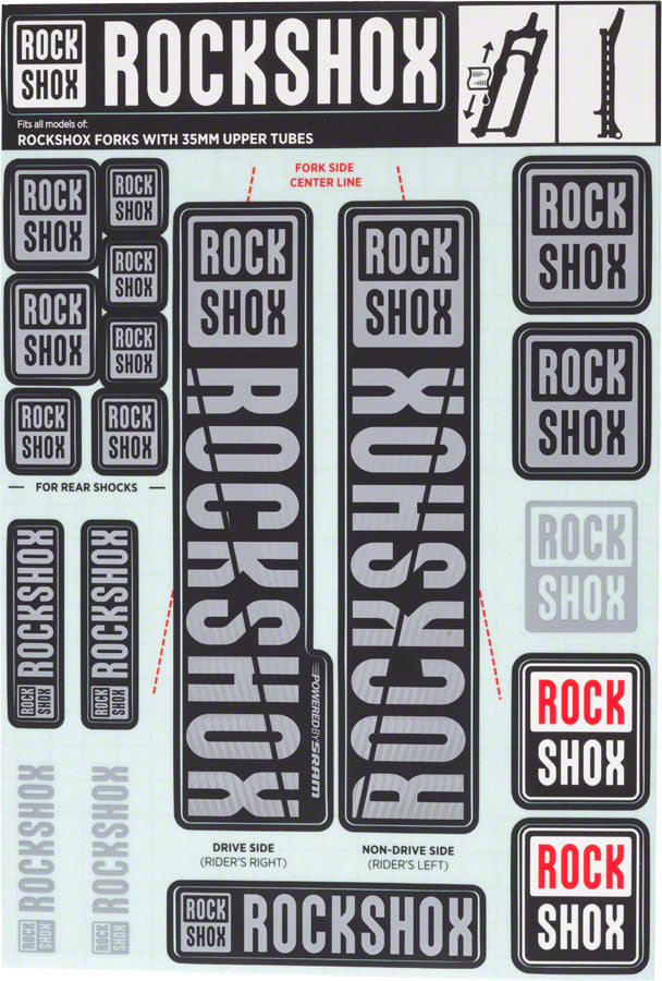 RockShox Decal Kit, 35mm, Gray