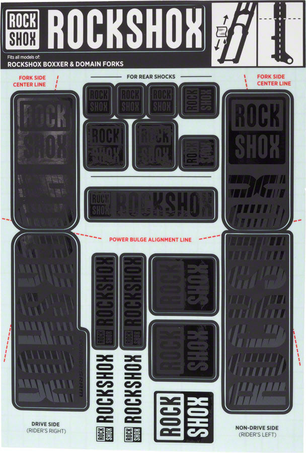 RockShox Decal Kit, 35mm Dual Crown, Stealth Black MPN: 11.4318.003.514 UPC: 710845803925 Sticker/Decal Decal Kit