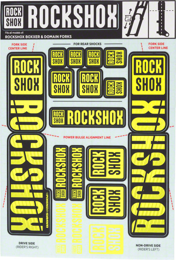 RockShox Decal Kit, 35mm Dual Crown, Yellow MPN: 11.4318.003.516 UPC: 710845803949 Sticker/Decal Decal Kit