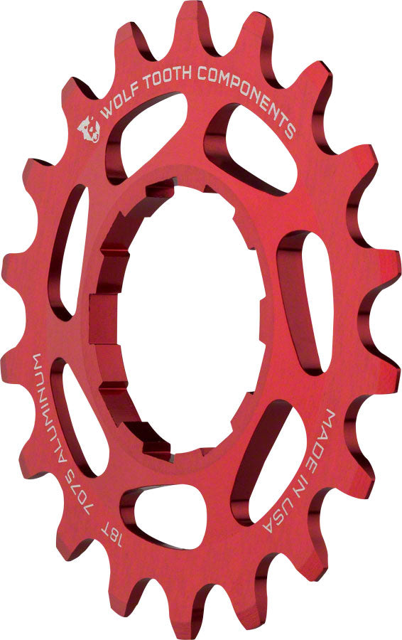 "Wolf Tooth Single Speed Aluminum Cog: 18T, Compatible with 3/32"" Chains, Red MPN: AL-SS-RED-COG18 UPC: 812719023115 Driver and Single Cog Alloy Singlespeed Cog"