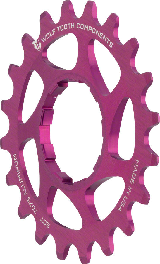 "Wolf Tooth Single Speed Aluminum Cog: 20T, Compatible with 3/32"" Chains, Purple MPN: AL-SS-PRP-COG20 UPC: 812719023238 Driver and Single Cog Alloy Singlespeed Cog"