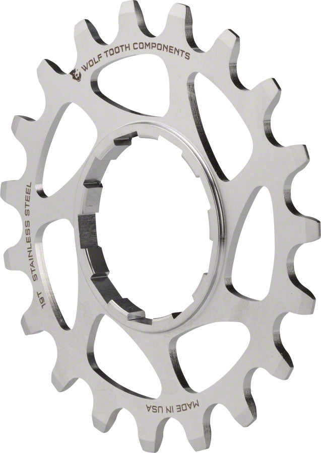"Wolf Tooth Single Speed Stainless Steel Cog: 19T, Compatiblewith 3/32"" Chains MPN: SS-COG19 UPC: 812719022934 Driver and Single Cog Stainless Steel"