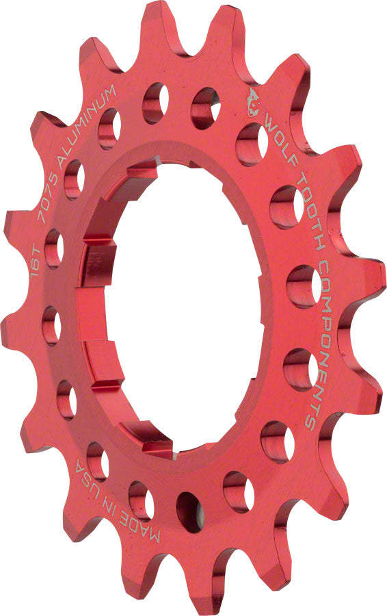 "Wolf Tooth Single Speed Aluminum Cog: 16T, Compatible with 3/32"" chains, Red MPN: AL-SS-COG16-RED UPC: 812719025966 Driver and Single Cog Alloy Singlespeed Cog"