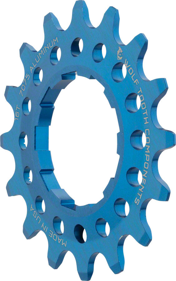 "Wolf Tooth Single Speed Aluminum Cog: 16T, Compatible with 3/32"" chains, Blue MPN: AL-SS-COG16-BLU UPC: 812719025973 Driver and Single Cog Alloy Singlespeed Cog"