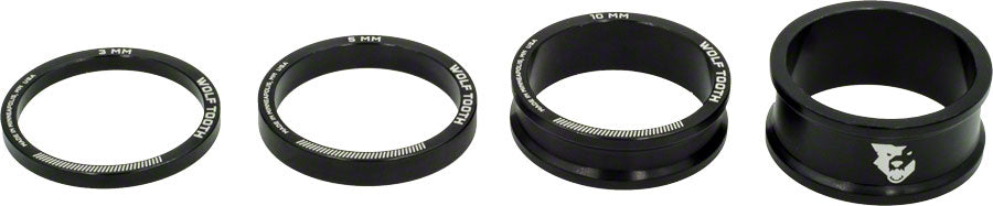 Wolf Tooth Headset Spacer Kit 3, 5,10, 15mm, Black