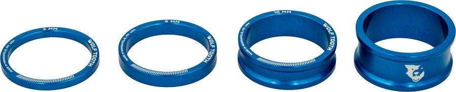 Wolf Tooth Headset Spacer Kit 3, 5, 10, 15mm, Blue