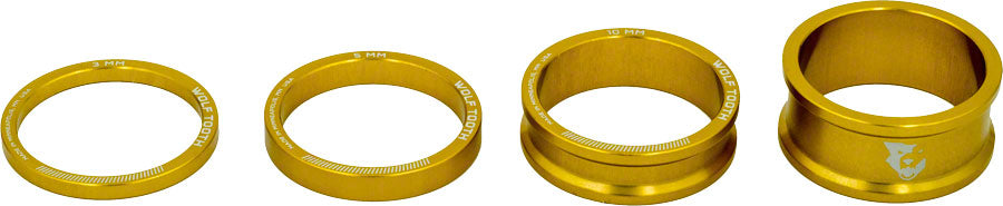 Wolf Tooth Headset Spacer Kit 3, 5, 10, 15mm, Gold