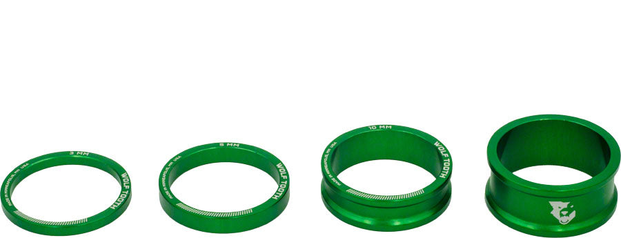 Wolf Tooth Headset Spacer Kit 3, 5,10, 15mm, Green