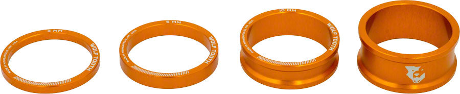 Wolf Tooth Headset Spacer Kit 3, 5, 10, 15mm, Orange