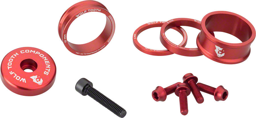 Wolf Tooth BlingKit: Headset Spacer Kit 3, 5,10, 15mm, Red