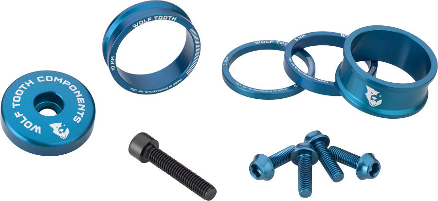 Wolf Tooth BlingKit: Headset Spacer Kit 3, 5,10, 15mm, Blue