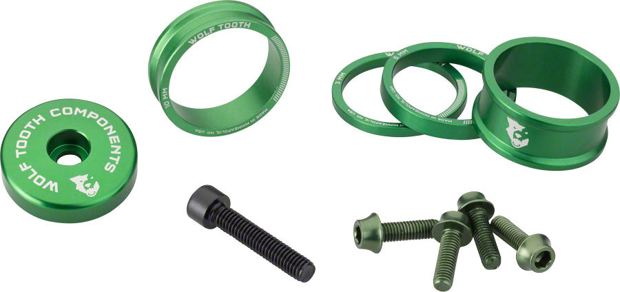 Wolf Tooth BlingKit: Headset Spacer Kit 3, 5,10, 15mm, Green MPN: BLINGKIT_GREEN UPC: 812719025119 Headset Stack Spacer BlingKit
