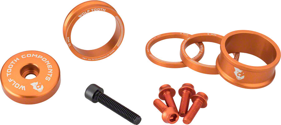 Wolf Tooth BlingKit: Headset Spacer Kit 3, 5,10, 15mm, Orange
