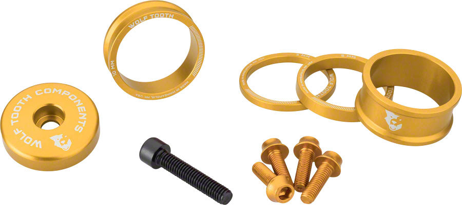 Wolf Tooth BlingKit: Headset Spacer Kit 3, 5,10, 15mm, Gold