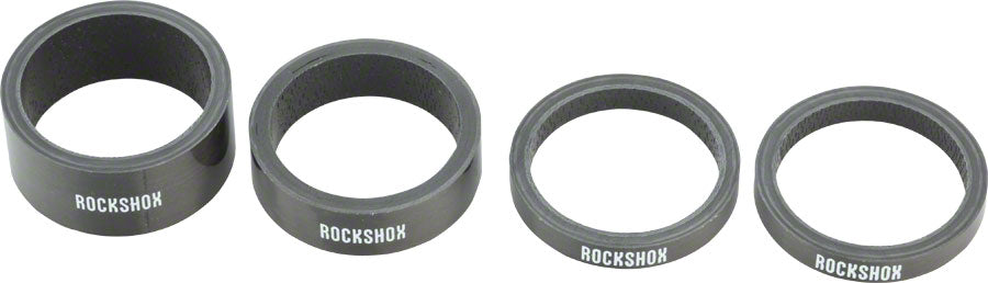RockShox UD Carbon Headset Spacer Set, Includes 5mm x 2, 10mm x 1, 15mm x 1 MPN: 00.4315.021.010 UPC: 710845674327 Headset Stack Spacer Carbon Spacer Set
