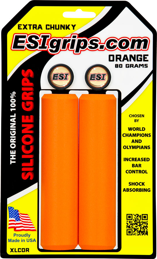ESI 34mm Extra Bike Chunky Silicone Bicycle Grips Orange