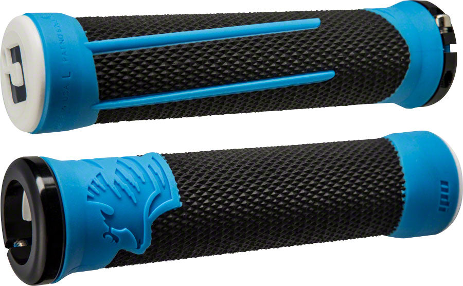 ODI AG2 Grips - Black/Blue, Lock-On