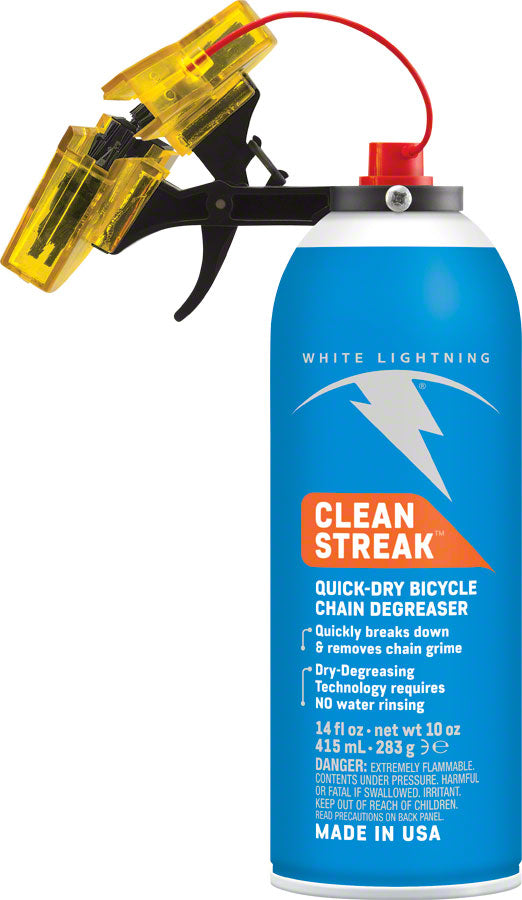 White Lightning Clean Streak Trigger Chain Cleaning System MPN: W29000102 UPC: 610990200009 Degreaser / Cleaner Clean Streak Trigger Chain Cleaning System