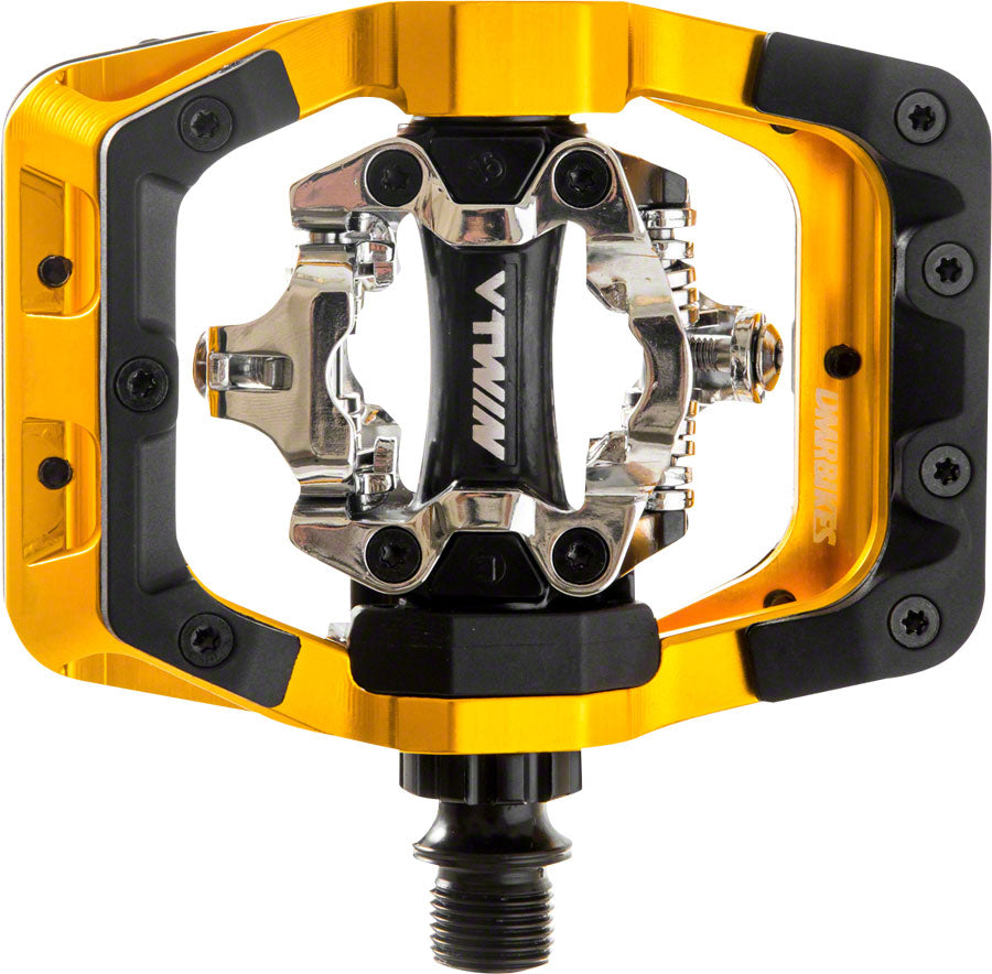 "DMR V-Twin Pedals - Dual Sided Clipless with Platform, Aluminum, 9/16"", Gold MPN: DMR-VTWIN-GO Pedals V-Twin Pedals"