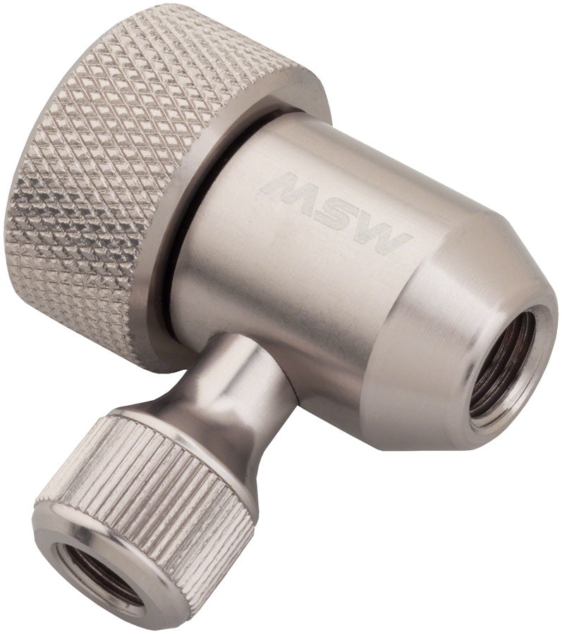 MSW Jetstream Adjustable Inflation Head: Presta and Schraeder, Silver