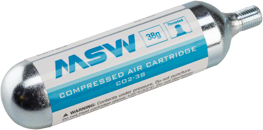 MSW CO2-38 CO2 Cartridge: 38g, Each MPN: 17-000025 38G EA UPC: 708752147928 CO2 and Pressurized Cartridge CO2-38