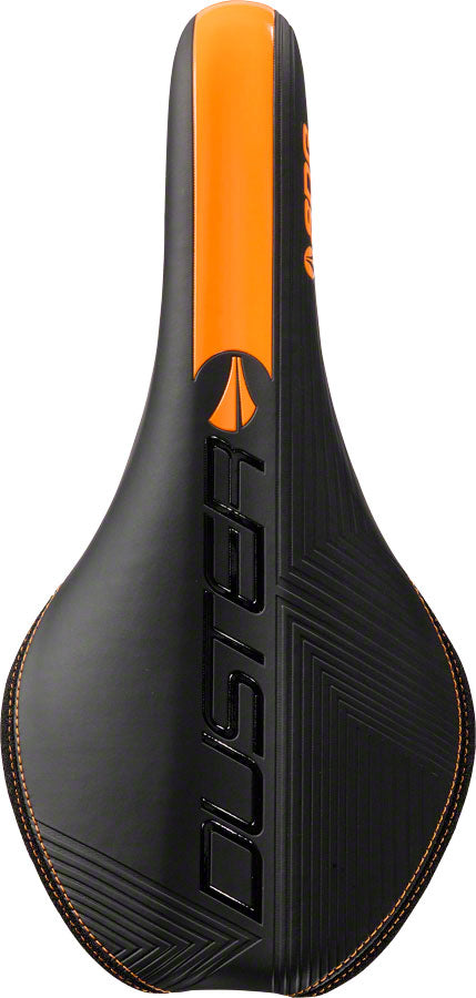 SDG Duster P MTN Saddle: Ti-Alloy Rails, Black Microfiber Top with Black Aramid Sides, Orange Graphics, Base, and - Saddle