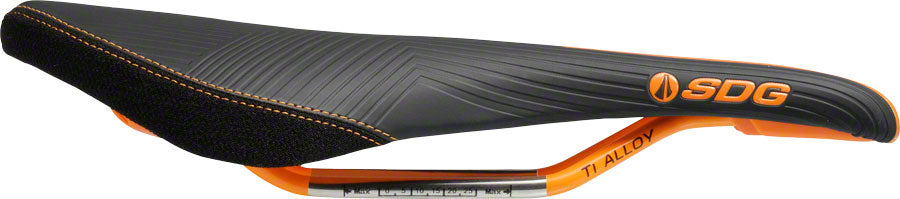 SDG Duster P MTN Saddle: Ti-Alloy Rails, Black Microfiber Top with Black Aramid Sides, Orange Graphics, Base, and MPN: 08012 UPC: 812367015258