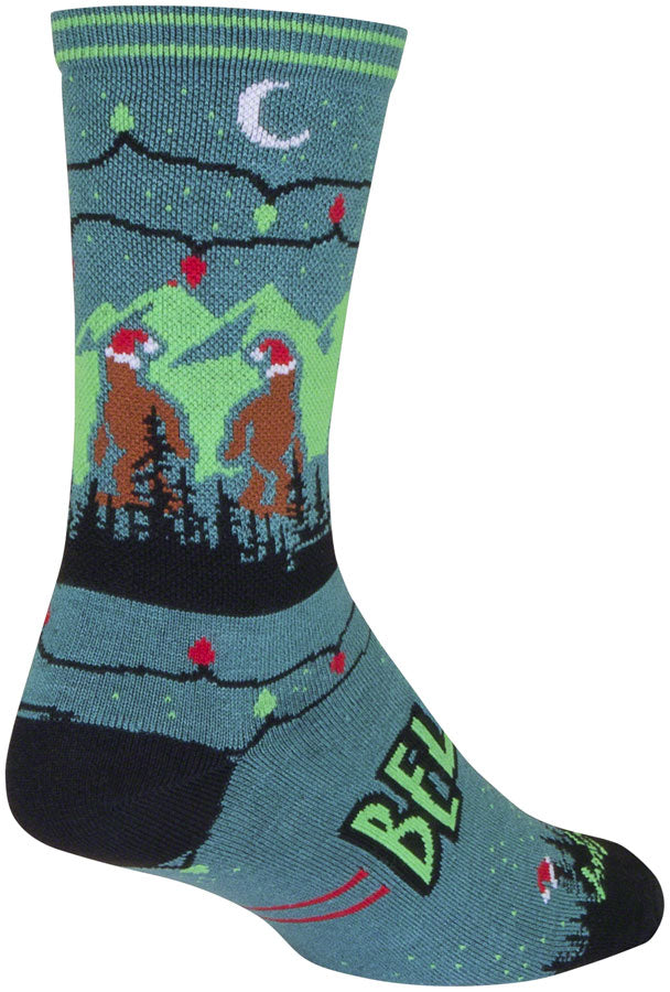 SockGuy Crew SantaSquatch Socks - 6 inch, Blue/Green/Black, Large/X-Large