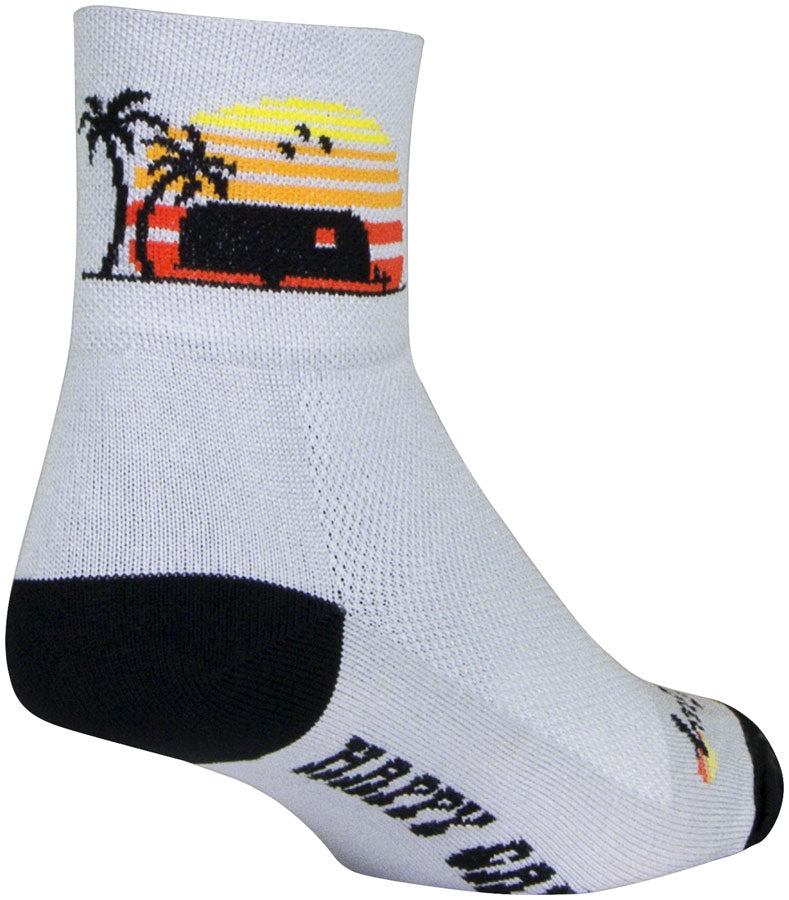 SockGuy Classic Happy Camper Socks - 3 inch, Gray/Black/Orange, Small/Medium