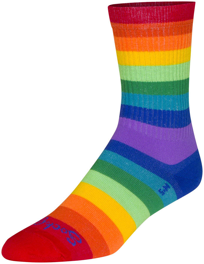 SockGuy Crew Fabulous Socks - 6 inch, Rainbow, Small/Medium