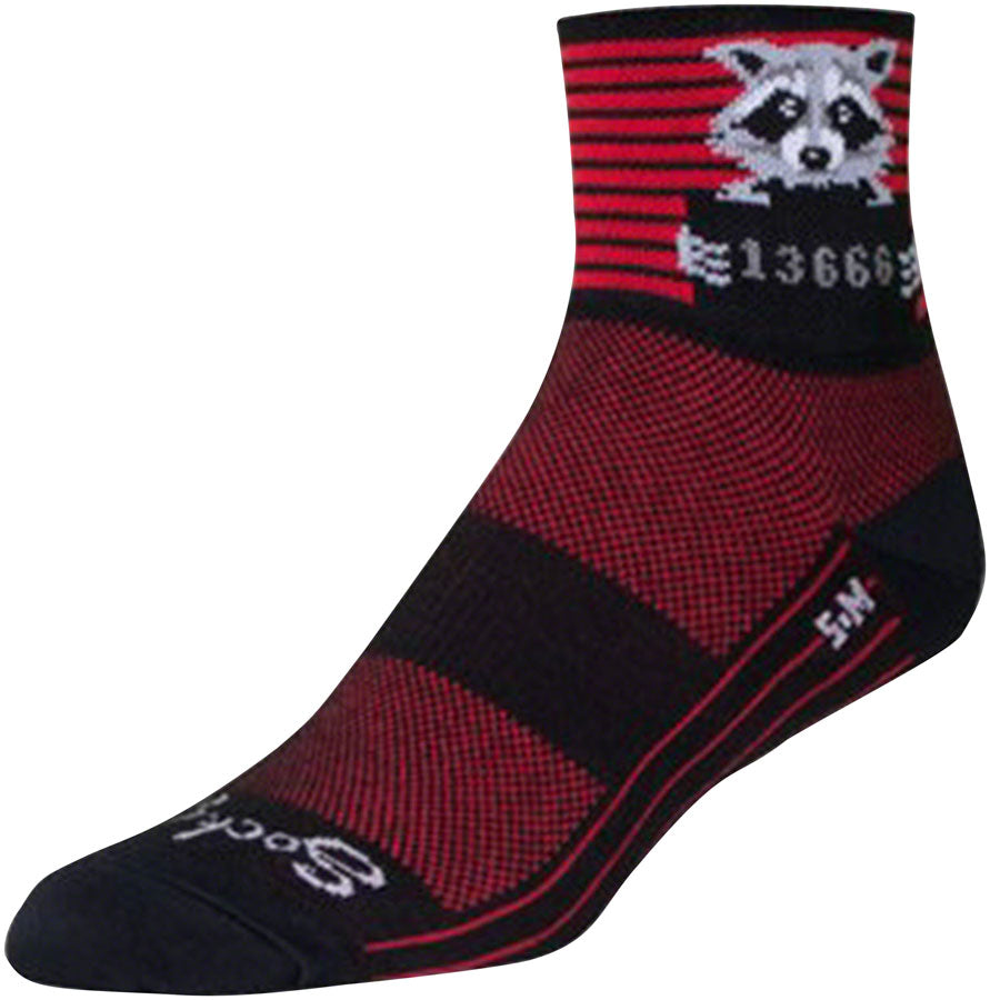 SockGuy Classic Busted Socks - 3 inch, Black/Red Stripe, Small/Medium
