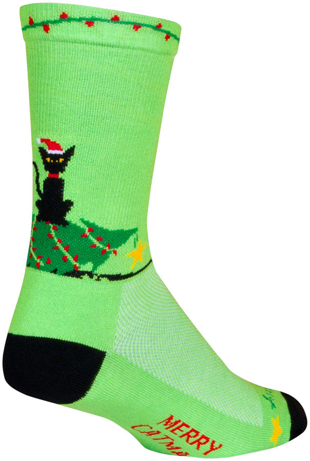 SockGuy Merry Catmas Crew Socks - 6 inch, Green/Black, Large/X-Large