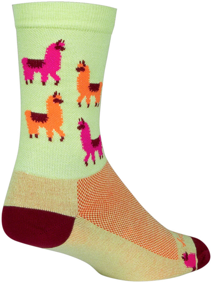 SockGuy Mo' Llamas Crew Socks - 6 inch, Green/Pink/Orange, Large/X-Large