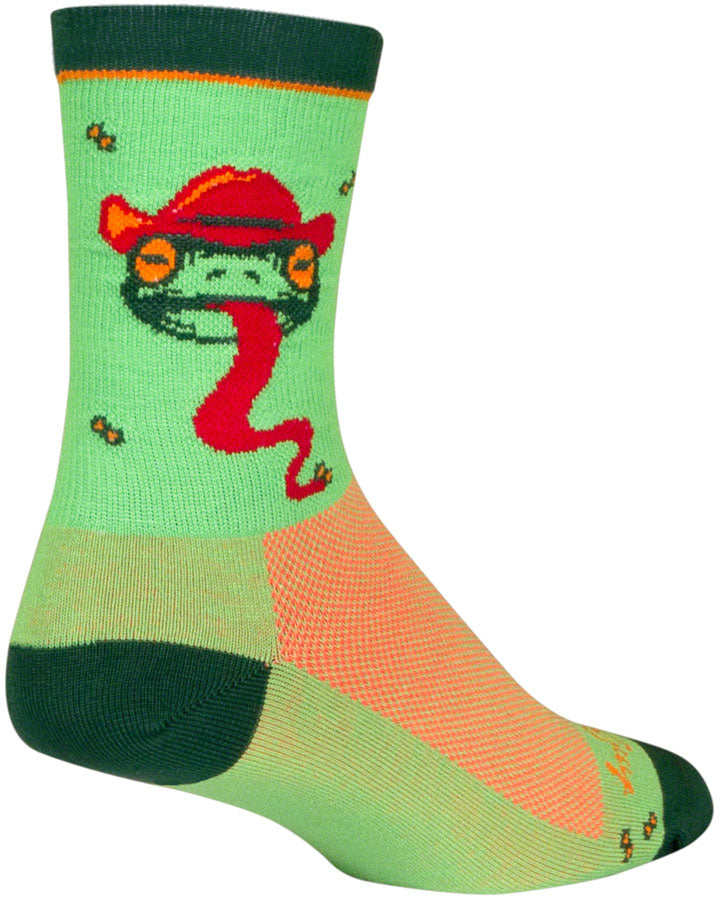 SockGuy Ribbit Crew Socks - 6 inch, Green/Red/Orange, Large/X-Large