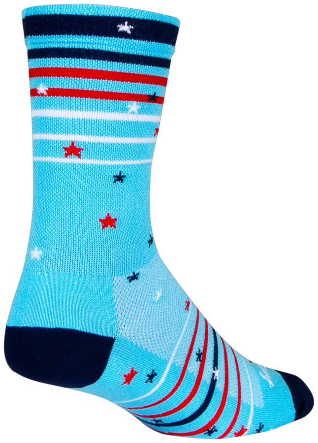 SockGuy Sparkler Crew Socks - 6 inch, Red/White/Blue, Small/Medium