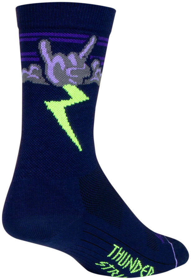 SockGuy Thunder Crew Socks - 6 inch, Navy/Purple/Green, Small/Medium