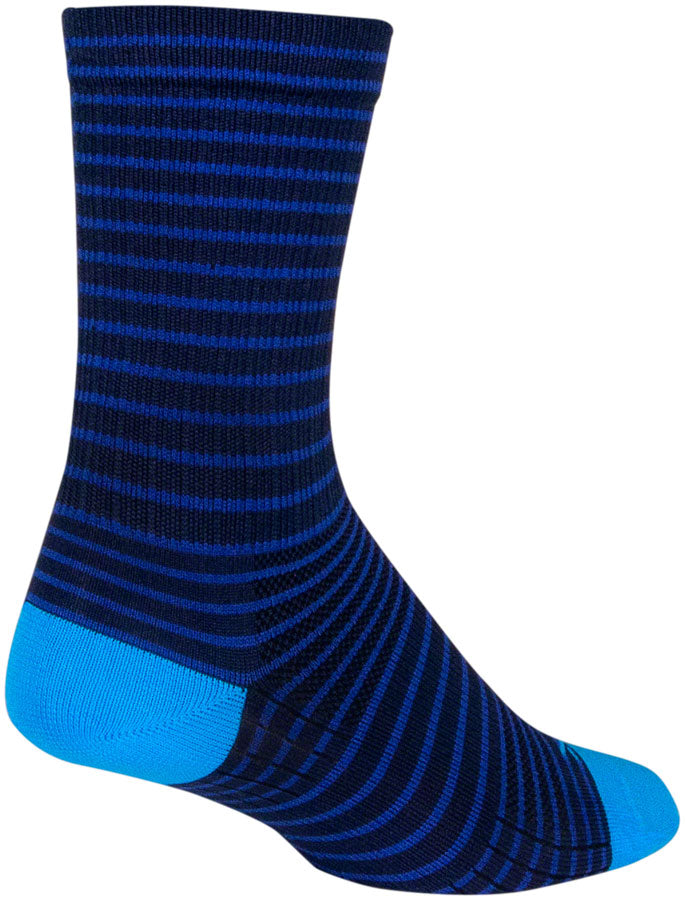 SockGuy Navy Stripes SGX Socks - 6 inch, Navy, Large/X-Large