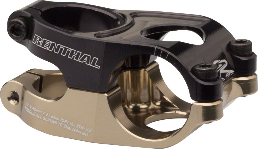 "Renthal Duo Stem - 40mm, 31.8 Clamp, +/-10, 1 1/8"", Aluminum, Black/Gold MPN: STM109-BKAG UPC: 765442147545 Stems Duo Stem"