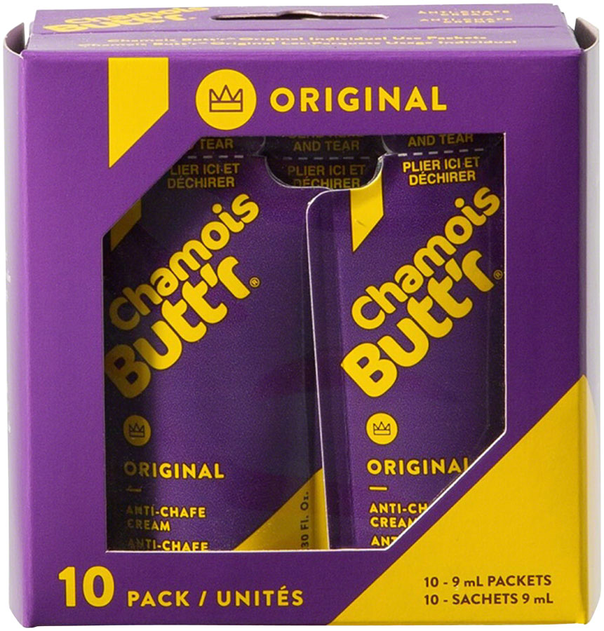 Chamois Butt'r Original: 0.3oz Packet, Box of 10 MPN: 10PACK9MLCB UPC: 657399000045