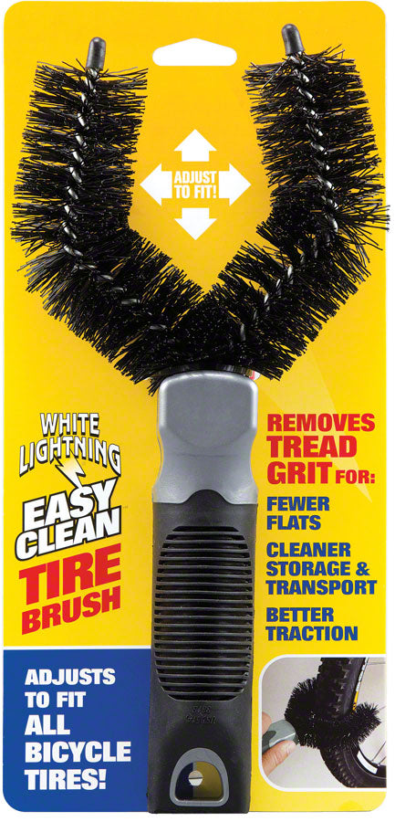 White Lightning Easy Clean Tire Brush, Black